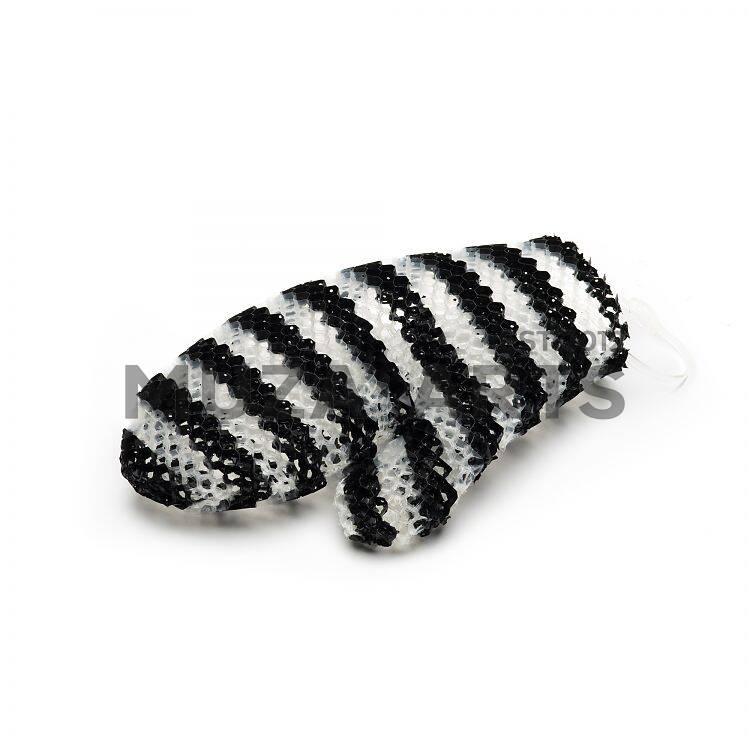 Мочалка рукавичка черно-белая